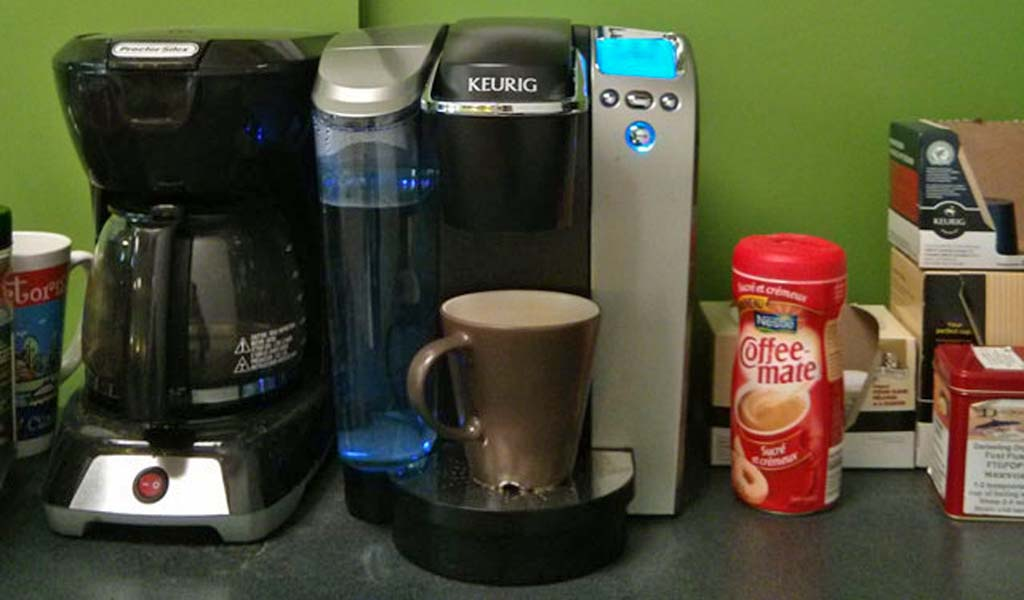 The coffee station at the FueledMinds kitchenette