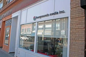 The Fourgrounds Media storefront on James Street, St. Catharines, Ontario.