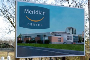 A sign showcasing the future home of the Meridian Centre in Downtown St. Catharines.
