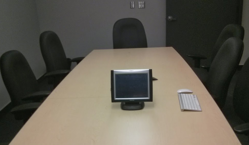 The boardroom showing the conference call and screen sharing capabilities